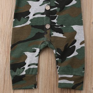 Infant Newborn Baby Boy Short Sleeve Camo Button Jumpsuit Romper Cotton Clothes Outfit Baby Clothing