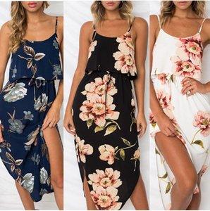 Les femmes été boho bracelet sans manches imprimé cocktail longue robe midi dames clubwear floral robe d'été