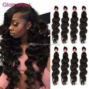 Glamorous Meilleure vente Double Extensions de cheveux malaisiens terrables 100% Human Hair The Teabe Péruvien Péruvien Cheveux Brésilien Tissu 4 Bundles