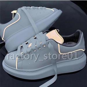 Zapatos de plataforma de lujo para hombre Moda para mujer Damas casuales Caminar Casual Zapatillas Luminoso Fluorescente Blanco Zapatos de cuero