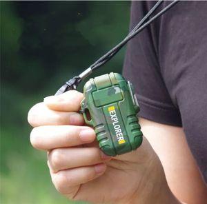 explorador de uso al aire libre cigarrillo impermeable plasma pulso doble arco de fumar USB más ligero de carga de metal encendedor eléctrico