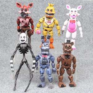 PVC FNAF Freddy Anime Vinil Nendoroid eylem oyuncak figürleri Seti M061 Engelleme 6PCS Beş Nights At Freddy'nin Rakamlar Ayı Doll 14-17cm Işık