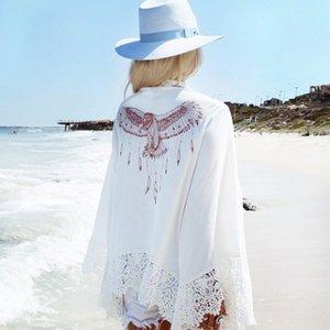 praia cardigan águia padrão de impressão encapuzados jaqueta de curtimento de mangas compridas