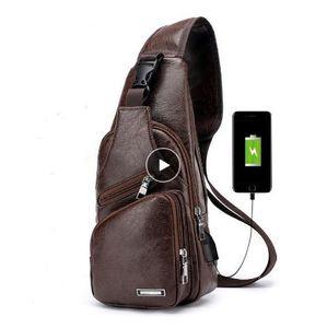 Дизайнер-мужские кроссбоди сумки мужская USB нагрудная сумка дизайнерская сумка-мессенджер кожаные сумки через плечо Диагональный пакет 2018 новый задний пакет