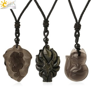 CSJA Natural Stone Obsidian Necklace for Men Carved Nine-tailed Fox Lucky Animal Pendant Amulet Women Fashion Jewelry Gifts G364