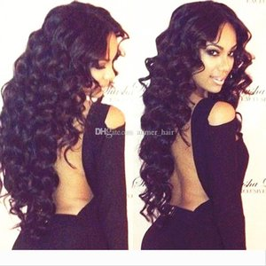 100% Unprocessed Virgin Brazilian Natural Color Full Lace Wigs Popular Loose Wave Lace Front Human Hair Wigs Bleached Knots