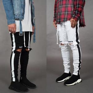 Estilista de la moda los pantalones vaqueros flacos de los hombres de los pantalones vaqueros elásticos rectos delgados pantalones casuales para hombre del motorista masculino Stretch Denim pantalones clásicos