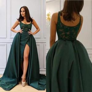 2020 Verde Fome New Sexy Uma linha Prom Dresses Evening desgaste com Overskirt Scooped Appliqued Beading alta Dividir Prom Vestidos Wear