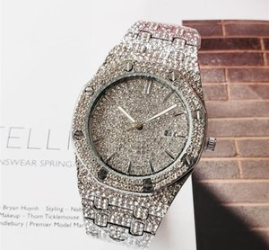 logotipo de las señoras A más entre P @@ relojes cuadrados de flor llena de diamantes de oro diamantes de imitación reloj de las mujeres de los hombres del diseñador relojes automáticos de pulsera de reloj