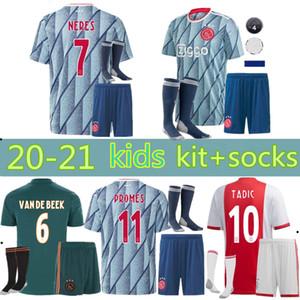Tay kalite 2020 2021 Ajax FC çocuklar kitleri + çorap futbol forması 20 21 KLAASSEN FISCHEA BAZOER Milik üniformalar gömlek bebek Ajax FC Futbol forması