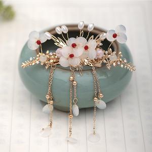 FORSEVEN Vintage chinesischer Art-Haar-Schmuck-Blumen-Form-Haar-Klipp-Perlen-Anhänger Quaste Pin-Fee-Stirnband JL
