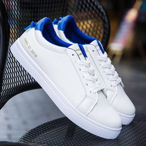 2019 New Classic Chaussures Hommes Casual Cuir Chaussures plates à lacets Bas Blanc Haut Printemps Automne Homme Chaussures Tenis Masculino Adulto une