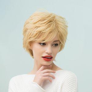 New Blond Courts perruque ondulée femmes cosplay Lady perruques de cheveux humains avec Net Cap