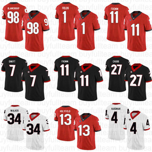 UGA 11 Jake Fromm 27 Nick Chubb 7 D'Andre Swift 3 Roquan Smith 13 Elías Holyfield 1 Justin campos Georgia Bulldogs Escuela de Fútbol jerseys