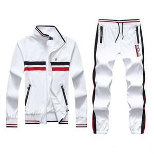pantalones de la chaqueta sudaderas con capucha y de deporte del polo del hombre de los hombres jogging basculador Establece cuello alto Deportes chándales sudaderas