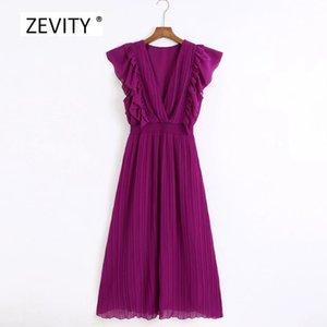 Zevity Yeni kadın boyun düz renk geçişli fırfır midi kadın elastik bel vestidos şık parti elbiseler DS4061 elbise pilili v