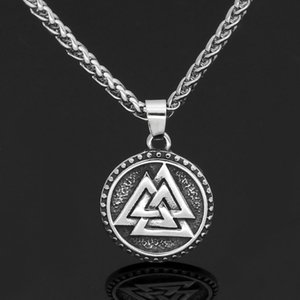 Nordic Viking Valknut Amulet 남자와 여자를위한 스테인레스 스틸 펜던트 목걸이 - Valknut Rune Gift Bag