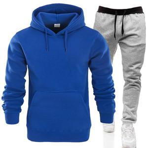 2020 Spring solida coppia tute con cappuccio Pure Color Uomo sportivo Sportsuits attivi Pullover Womens allentati 2pcs gli insiemi con tasche