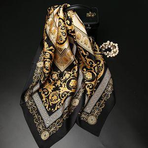 Moda pintura al óleo de la bufanda de seda de oro del compás de la bufanda de las bufandas de satén 90 cuadrado grande bufanda Mujer