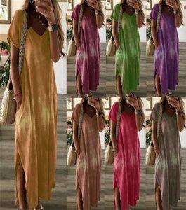 Женщины карманные Сыпучие платье V образным вырезом с коротким рукавом лето Gradient Повседневные платья Famale Дизайнер одежды