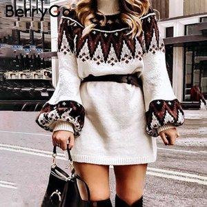BerryGo 기하학적 프린트 니트 여성 드레스 캐주얼 여성 흰색 vestidos 레트로 가을 겨울 목 풀오버 스웨터 드레스 거북이