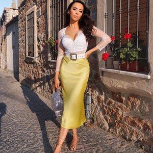 2020 NOUVEAU haute en satin de soie mode sexy élégant Jupe longue taille Fashion Casual Une ligne Jupes Femmes Rose Jaune Noir