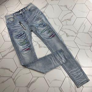 Erkek sıkıntılı ripped Biker Jeans Slim Fit Motosiklet Biker Denim erkekler için moda Balma tasarımcı Hip Hop erkek kot kaliteli bigest 38