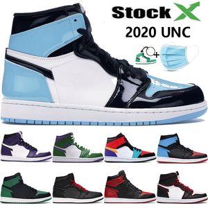 UNC brevet 1 Haute 1 s jumpman de basket-ball chaussures hommes femmes vert orteil NC à Chi en cuir Incroyable Hulk multi couleur sport designer sneakers