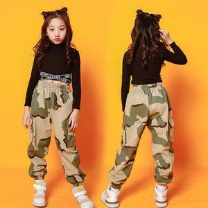 43 Дети Hip Hop Одежда Детские танцы костюм для девочек Джаз танец Бальные Concert Stage Outfit Streetwear