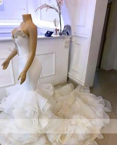 Árabe Sereia vestidos de casamento querido Cristais Organza Ruffles vestidos de noiva longo Robe De Mariee Lace Up Voltar