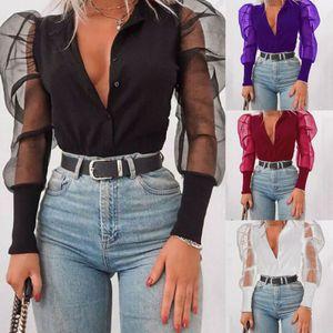 Botón para mujer cuello con volados de tul camisa casual de las señoras de manga larga Tops señoras de la blusa transparente Sexy cuello en V Blusas Ropa