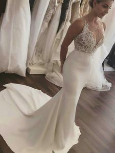 Incroyable Robes de mariée Sirène Span Sexy Voir à travers la dentelle de la dentelle Boho Robe de mariée Plus Taille Satin Wedding Vestidos de Novia 2019 Princesse