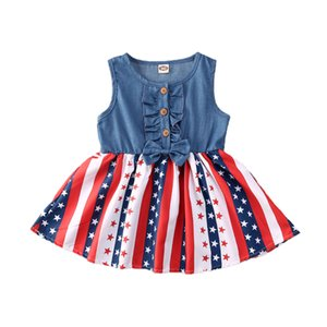 2020 Sleevelesss Summer Toddler Kids Dress Independence Day Denim Bow Stars and Striped A-line Dress Sundress
