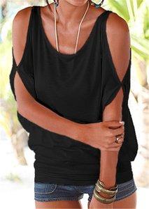Kadın T Shirt Yaz Rahat Seksi Kapalı Omuz Gömlek Batwing Kısa Kollu Lace up Katı O-Boyun Gevşek Tops