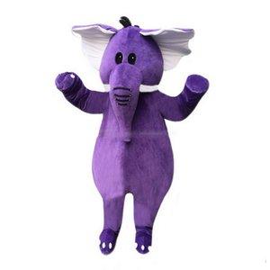 Dessin animé de mascotte éléphant pourpre, photos physiques d'usine, qualité garantie, accueil des acheteurs pour les photos d'évaluation et de chargement
