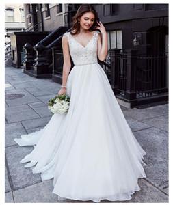 멋진 V 넥 레이스 아플리케 톱 - 라인 웨딩 드레스 민소매 사용자 정원 여성 패션 신부 드레스 Vestidos 드 Mariee