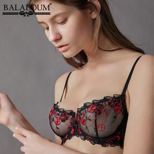 BALALOUM Women Sexy Hot Ultra-thin Transparent Bra Erotic Summer Lace Embroidery Balconette Brassiere Female Lingerie Underwear T200416