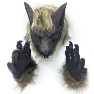 Косплей Latex Rubber анфас Оборотень маска перчатка Set голова животные Scary Halloween Horror Дьявол маска фестиваль украшение партия Y200103