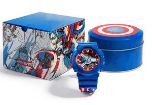 마블 슈퍼 영웅 시리즈 손목 시계 한정판 철 남자 캡틴 아메리카 남자 스포츠 시계 G 스타일 충격 시계 특별 상자