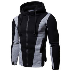 Luva de manga Zipper Hoodie Men Outono Inverno Irregular Hem Casual Patchwork camisola Mens Slim Fit Striped Cotton Jacket Brasão
