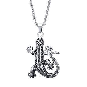 Personalizadas de los hombres de Wild Animal accesorios collar colgante de acero de titanio Gecko lagarto