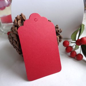Red DIY Paper Gift Tag Party Wedding Message Gift Hang Tag Craft Cards Scalloped Paper Label Cards Hemp String Included 200pcs