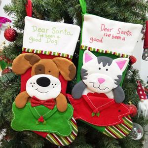Presente de doces Cat Dog New desenhos animados Meia de Natal Árvore de Natal Saco do ornamento de suspensão inicial Xmas Decoração DHL navio HH9-2554