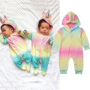 Mignon multicolore à capuche bébé barboteuses pour garçons filles nouveau-né licorne escalade vêtements infantile combinaison bébé vêtements C5766