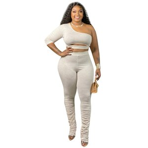 Women Sets Two Pieces Sets Solid Knitted Tracksuits Crop Top Stacked Leggings Pants Suit Fitness Outfits Matching Set