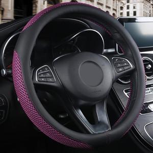Cuero Artificial estilo Interior del coche cubierta del volante transpirable Protector antideslizante resistente al desgaste Universal Fit 38 cm