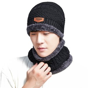 Fashion Outdoor Sport Cold-proof Knitted Hat Winter Keep Warm Hat Neck Warmer Knitted Hat Scarf Set For Mens