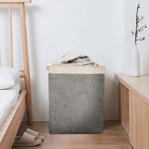 Cotton Linen Laundry Baskets Foldable Square Storage Basket Toy Clothing Storage Bag Organizer Household Laundry Bags Supplies