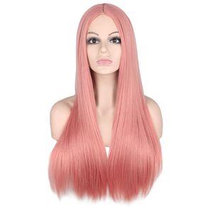 Длинный Прямой Парик Средней Части Для Женщин Черный Белый Розовый Оранжевый Фиолетовый Серый Волосы Термостойкие Синтетические Парики Волос