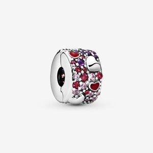 Yeni Geliş% 100 925 Gümüş Asimetrik Kalpler açacağı Klip Charm Fit Orjinal Avrupa Charm Bilezik Moda Takı Aksesuar